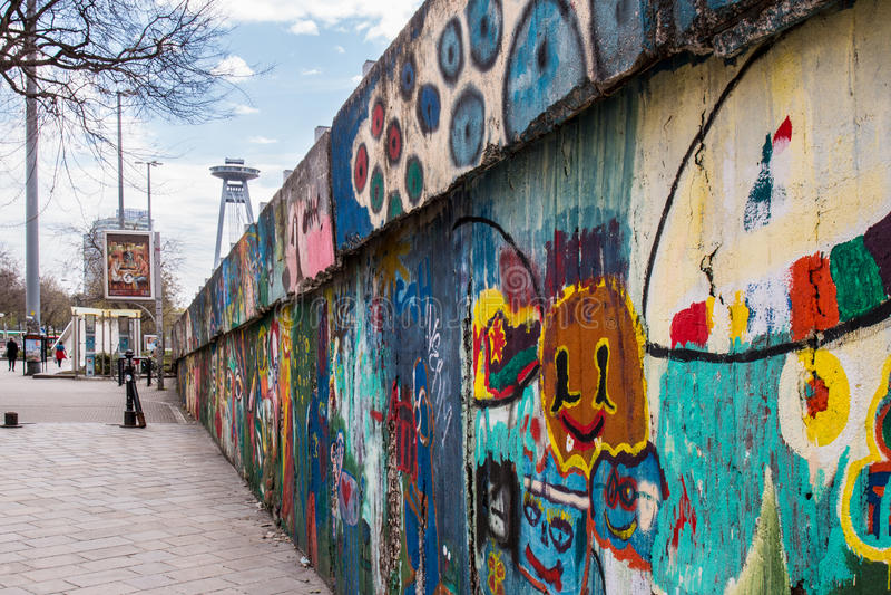 Wand von Graffiti stockfotografie