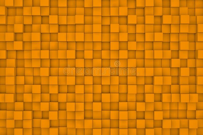 Wand von orange Würfeln entziehen Sie Hintergrund stock abbildung