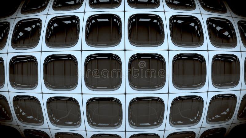 Wand von quadratischen Retro- abgestellten Schwarzweiss-Fernsehschirmen 3d übertragen stock abbildung