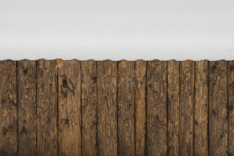 Wand von rauen Brettern mit Knoten vom schneebedeckten Dach lizenzfreies stockfoto