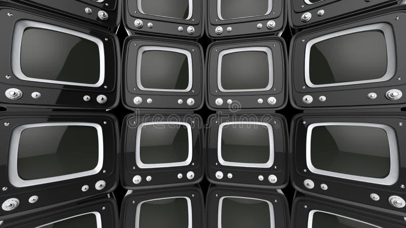 Wand von schwarzen Retrostil Fernsehern stock abbildung