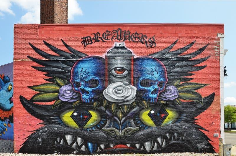 Wand-Wandgemälde in Detroit lizenzfreie stockfotos