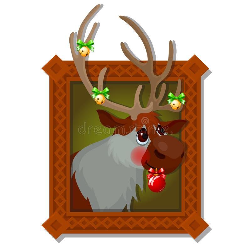 Wandbild in einem Holzrahmen mit Weihnachtsrotwild mit goldenen Klingelglocken und festlichen dem Flitter lokalisiert auf einem W lizenzfreie abbildung
