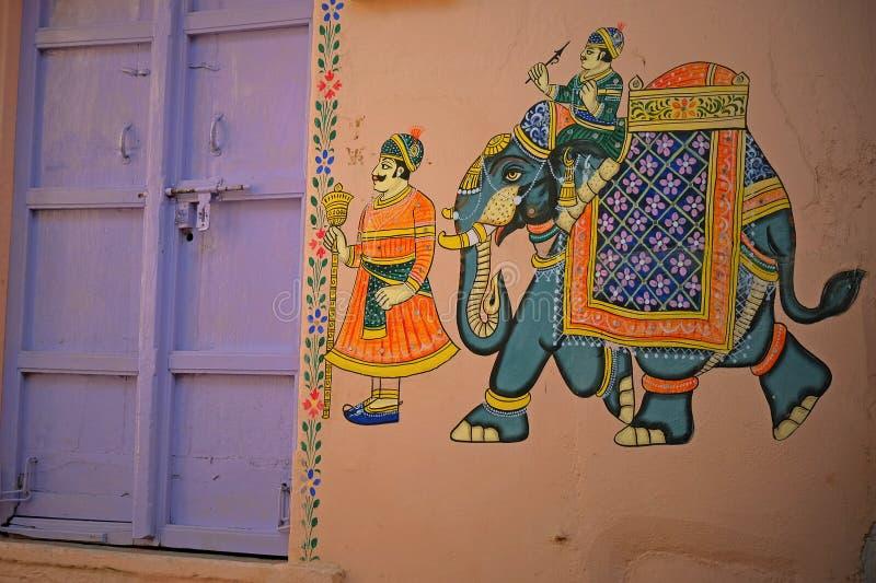 Wandbild in Udaipur, Indien stockfotos