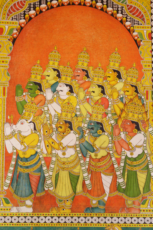 Wandbilder im Meenakshi Tempel, Indien lizenzfreie stockfotografie