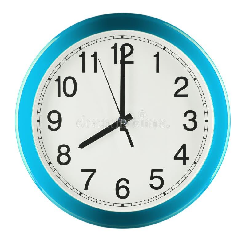 Wandborduhr getrennt auf weißem Hintergrund Acht Uhr lizenzfreie stockfotografie