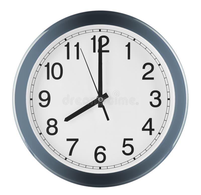 Wandborduhr getrennt auf weißem Hintergrund Acht Uhr stockfoto
