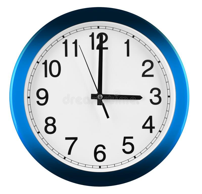 Wandborduhr getrennt auf weißem Hintergrund Drei Uhr stockfotografie