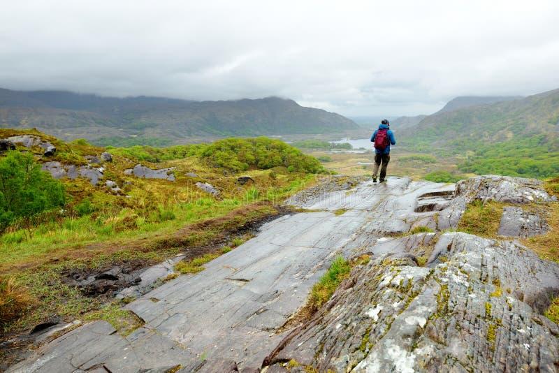 Wandelaar die de schoonheid van het Nationale Park van Killarney bewonderen bij het Weergevengezichtspunt van de Dame Één van het stock foto