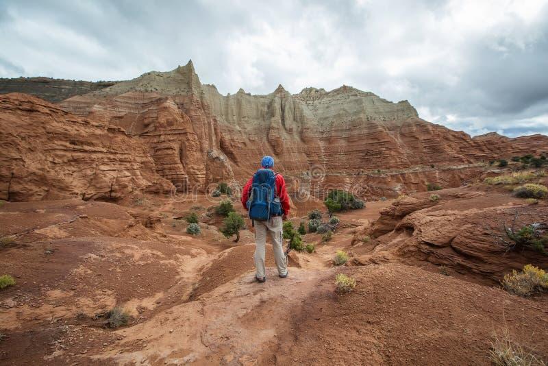 Wandelaar in Kodachrome-het park van de Bassinstaat in Utah, de V.S. stock afbeeldingen