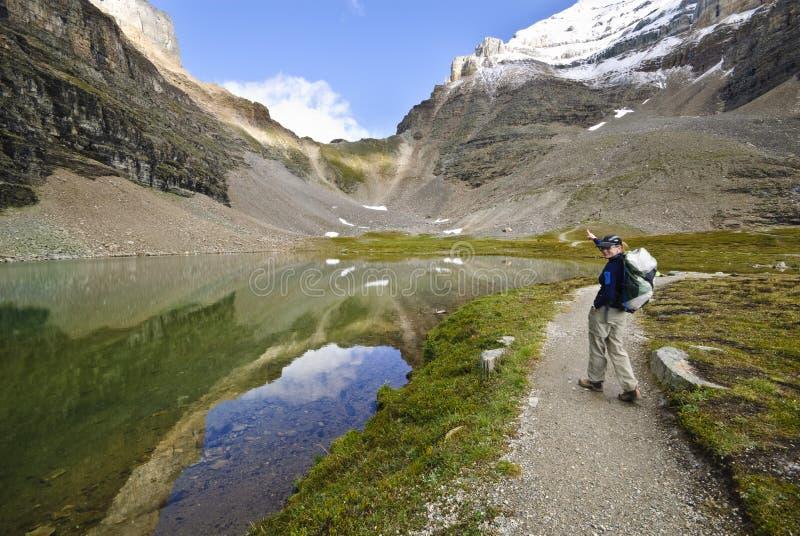 Wandelaar in nationale parc Banff royalty-vrije stock foto's
