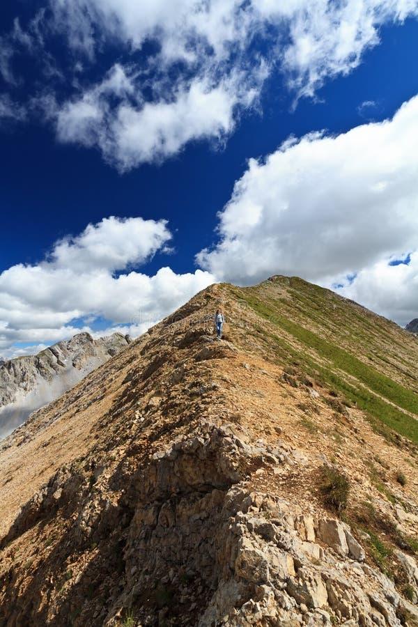 Wandelaar op bergrand royalty-vrije stock afbeeldingen