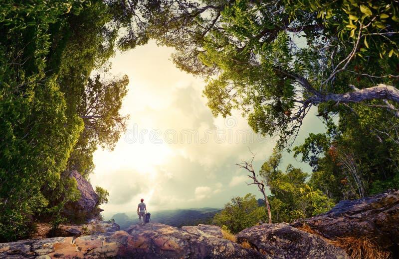 Wandelaar op de rots royalty-vrije stock fotografie