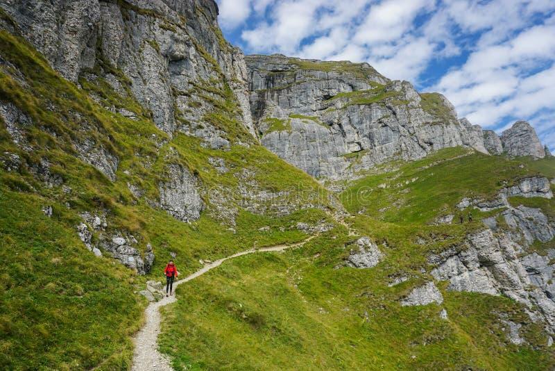Wandelaar op een mooie weg in de bergen royalty-vrije stock fotografie