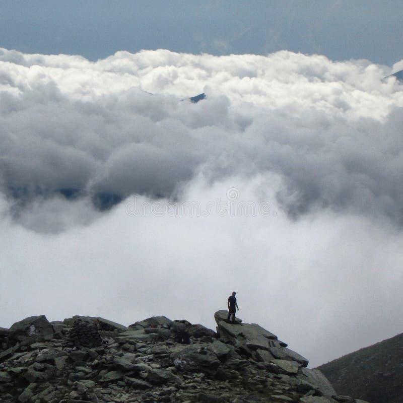 Wandelaar op top stock afbeelding