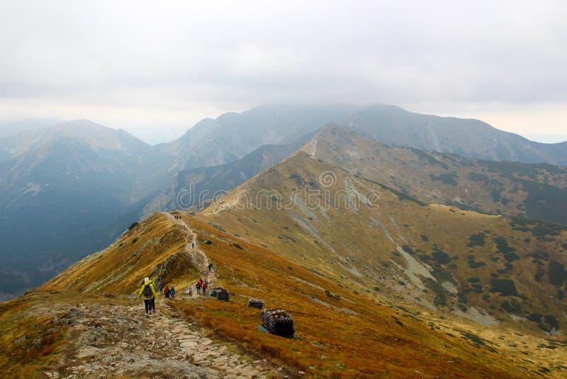 Wandelaarmensen die in bergen lopen stock afbeelding