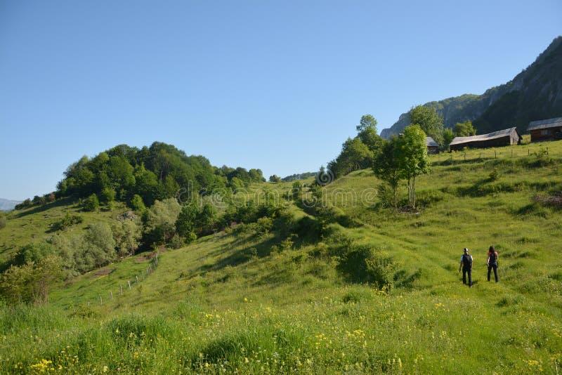 Wandelaars in de Apuseni-Bergen royalty-vrije stock afbeeldingen