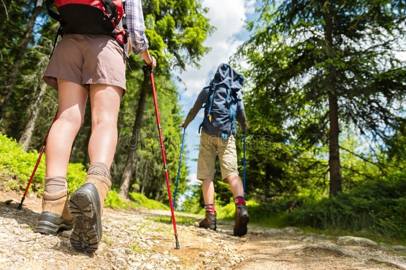 Wandelaars die met trekkingspolen lopen royalty-vrije stock fotografie