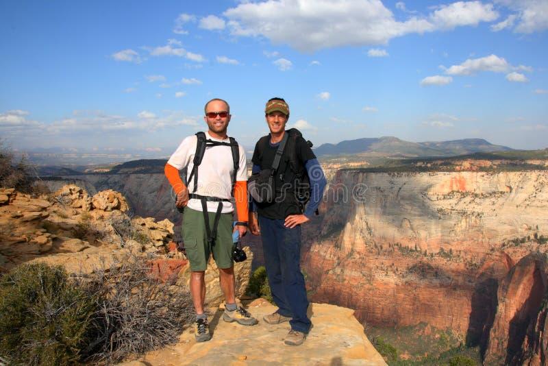Wandelaars in Nationaal Park Zion royalty-vrije stock foto