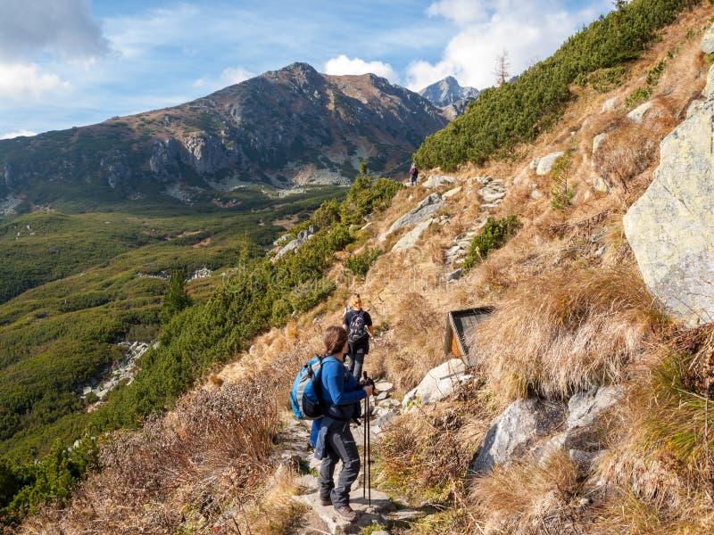 Wandelaars op sleep bij Grote Koude Vallei, Vysoke Tatry Hoge Tatras, Slowakije De Grote Koude Vallei is 7 km lange vallei, zeer  royalty-vrije stock fotografie