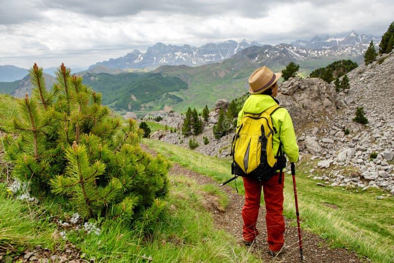 Wandelaarvrouw met mening van Tena Valley in de Pyreneeën, Formigal, Huesca, Spanje stock afbeeldingen