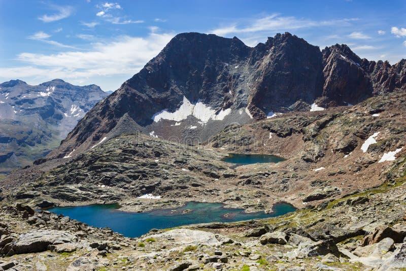 Wandelend in Aosta-vallei, Italië Mening van derde meer van Lussert van Laures-col. royalty-vrije stock afbeeldingen