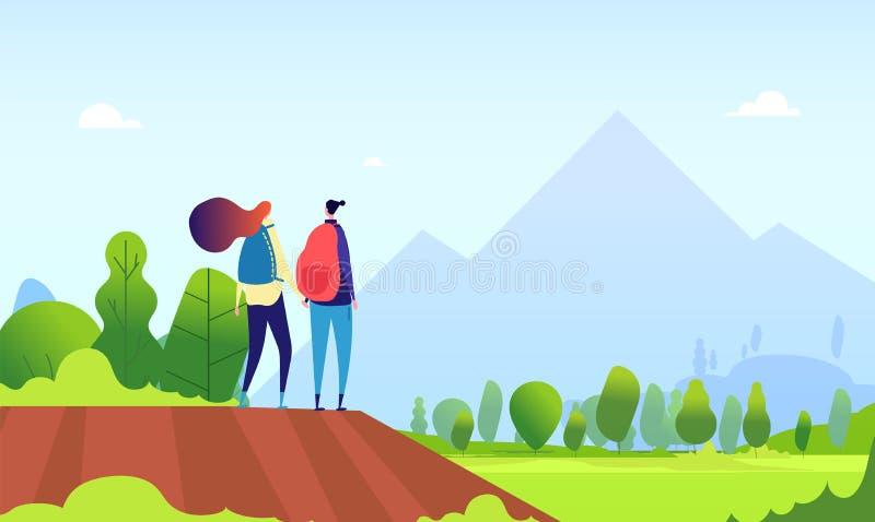 Wandelend paar Jonge vrouwelijke stijging in aardlandschap Man en vrouwentoeristen, wandelaars in de zomer in openlucht vectorbee stock illustratie