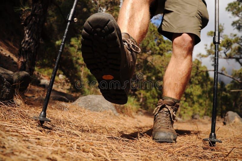 Wandelende mens met trekkingslaarzen op de sleep royalty-vrije stock foto's
