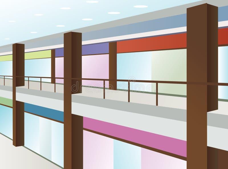 Wandelgalerij met vensters en bruine kolommen stock illustratie