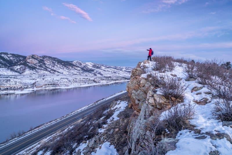 Wandeling Colorado vóór zonsopgang royalty-vrije stock afbeelding