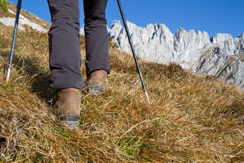 Wandeling in de Oostenrijkse alpen royalty-vrije stock foto's