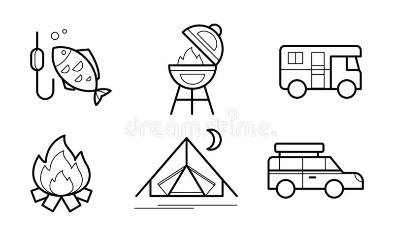 Wandeling en het kamperen lineaire geplaatste pictogrammen, ecotoerisme, de openlucht vectorillustratie van activiteitensymbolen  stock illustratie