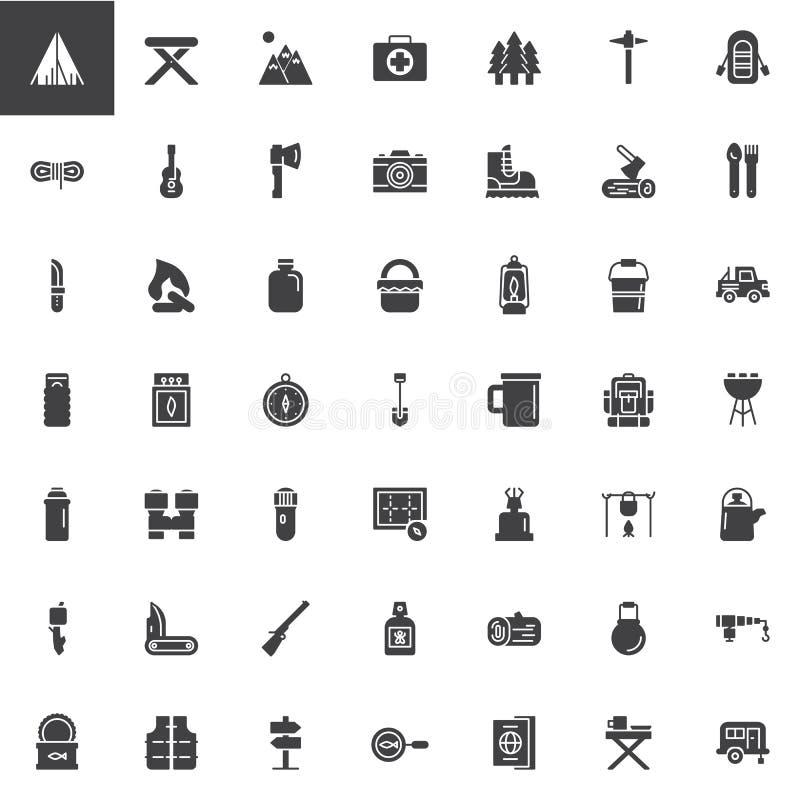 Wandeling en het Kamperen universele vector geplaatste pictogrammen royalty-vrije illustratie