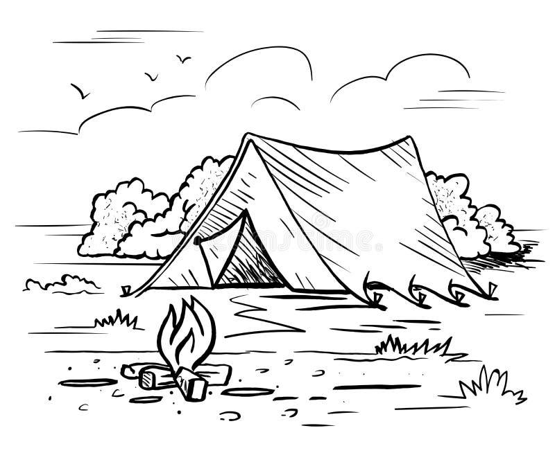 Wandeling het kamperen openluchtrecreatie royalty-vrije illustratie