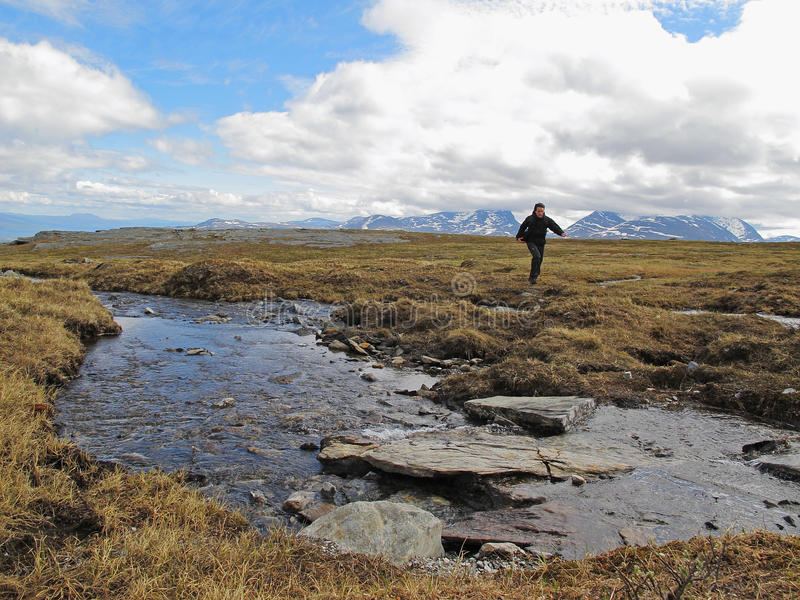 Wandeling in Lapland stock foto
