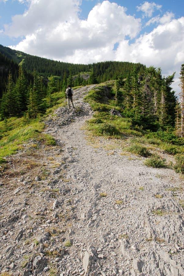 Wandeling op bergrand stock afbeelding