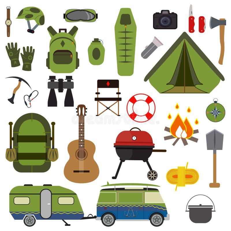 Wandelingsreeks Het kamperen inzameling van de materiaal de vectorzomer stock fotografie