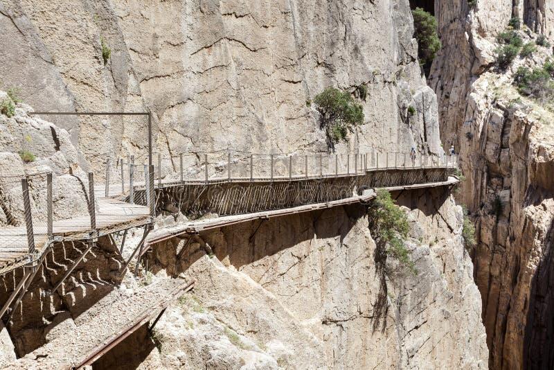 Wandelingssleep Caminito del Rey De Provincie van Malaga, Spanje stock foto's
