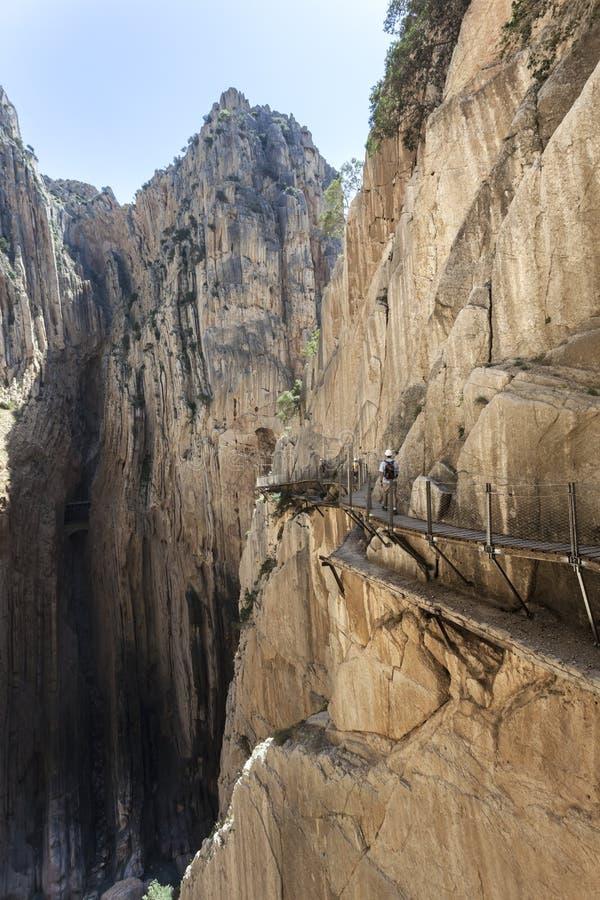 Wandelingssleep Caminito del Rey De Provincie van Malaga, Spanje stock foto