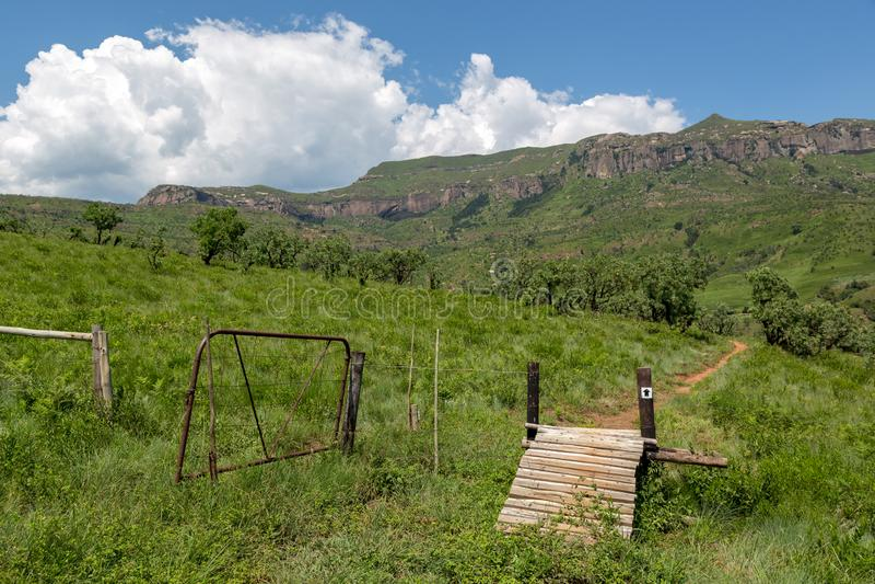 Wandelingssleep in Drakensberg-Bergketen Zuid-Afrika stock foto