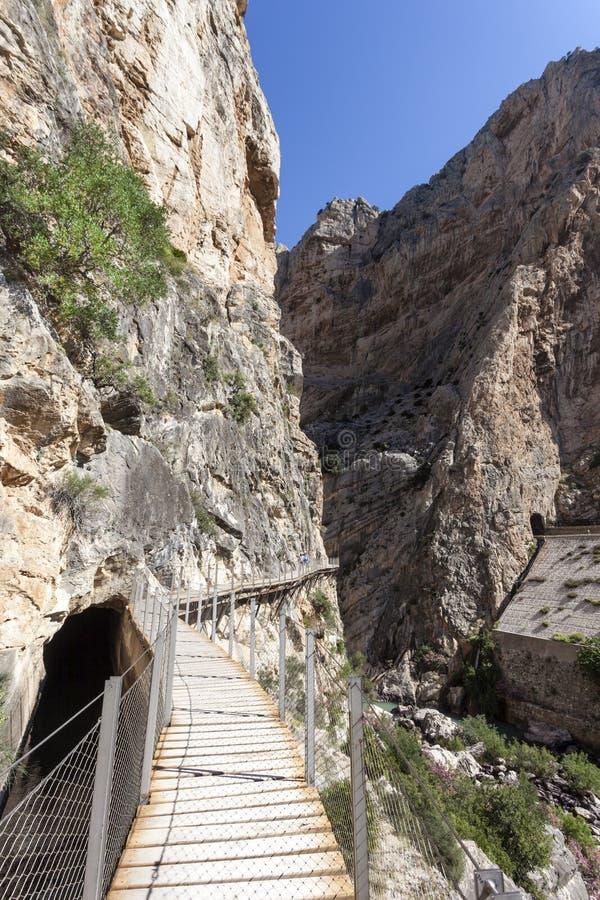 Wandelingssleep Gr Caminito del Rey De Provincie van Malaga, Spanje royalty-vrije stock foto's