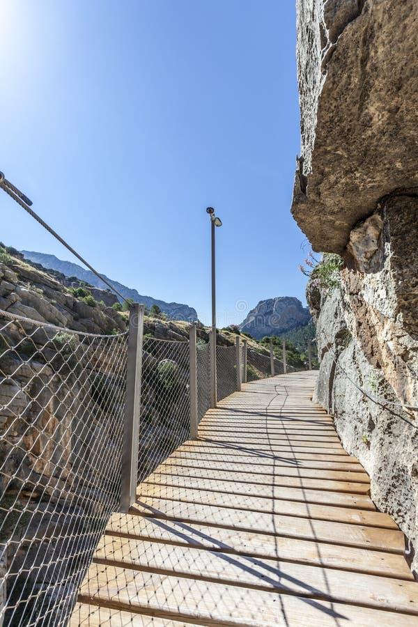 Wandelingssleep Gr Caminito del Rey De Provincie van Malaga, Spanje stock afbeeldingen