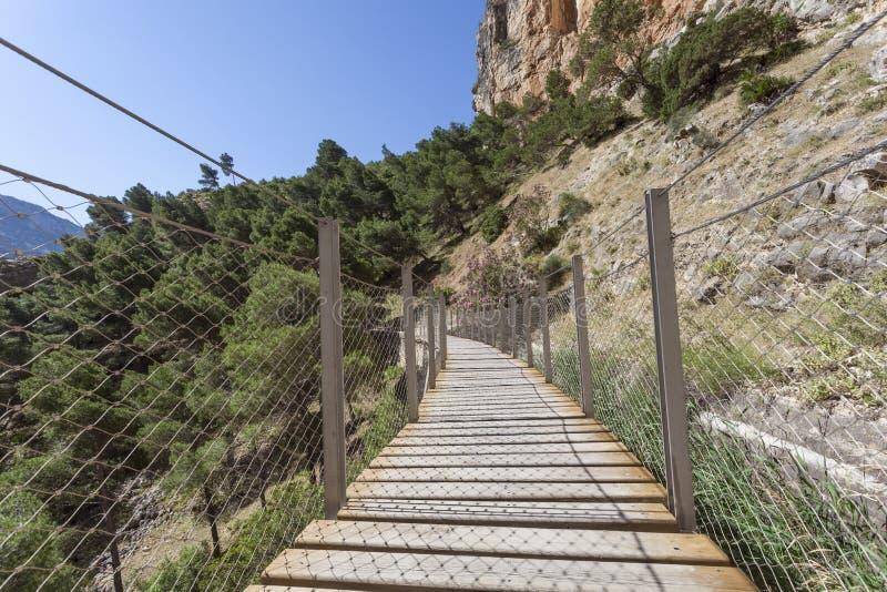Wandelingssleep Gr Caminito del Rey De Provincie van Malaga, Spanje stock foto's