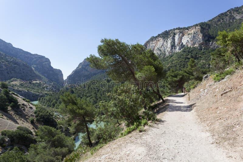 Wandelingssleep Gr Caminito del Rey De Provincie van Malaga, Spanje royalty-vrije stock afbeelding
