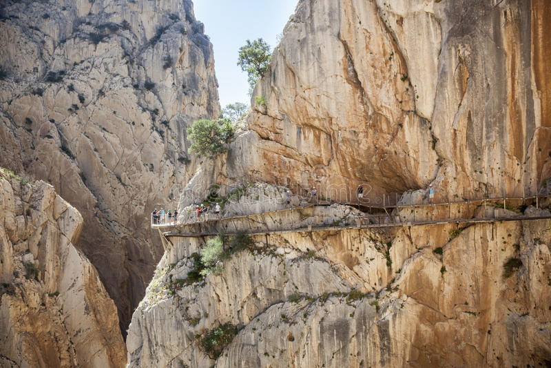 Wandelingssleep Gr Caminito del Rey De Provincie van Malaga, Spanje stock afbeelding