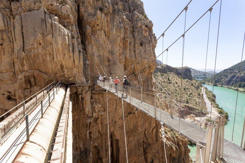 Wandelingssleep Gr Caminito del Rey, Spanje stock fotografie