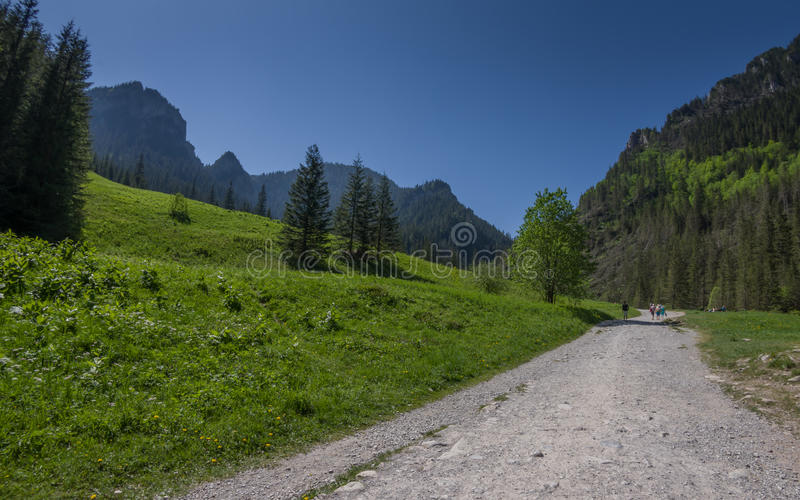 Wandelingssleep in groene bergvallei met mensen die op weg lopen stock afbeelding