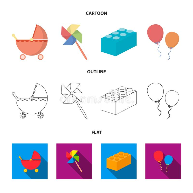 Wandelwagen, windmolen, lego, ballons Het speelgoed geplaatst inzamelingspictogrammen in beeldverhaal, schetst, de vlakke voorraa vector illustratie
