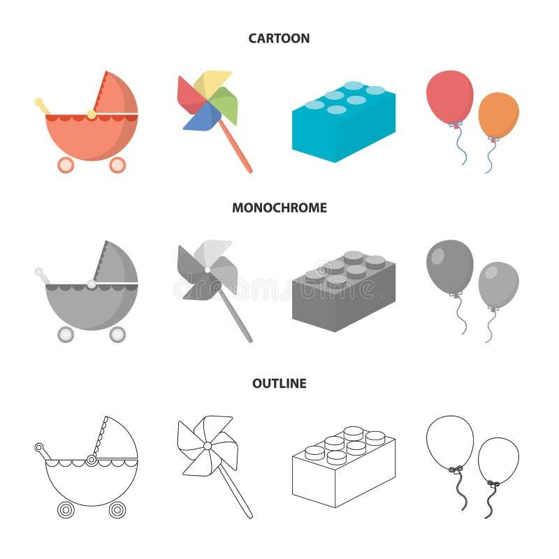 Wandelwagen, windmolen, lego, ballons Het speelgoed geplaatst inzamelingspictogrammen in beeldverhaal, schetst, de zwart-wit voor royalty-vrije illustratie