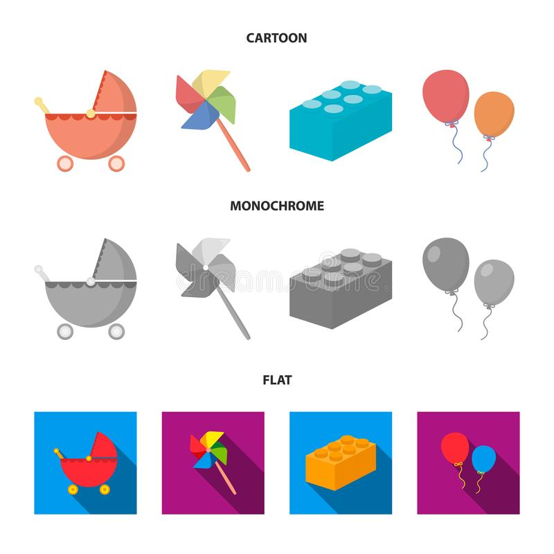 Wandelwagen, windmolen, lego, ballons Speelgoed geplaatst inzamelingspictogrammen in beeldverhaal, de vlakke, zwart-wit voorraad  royalty-vrije illustratie